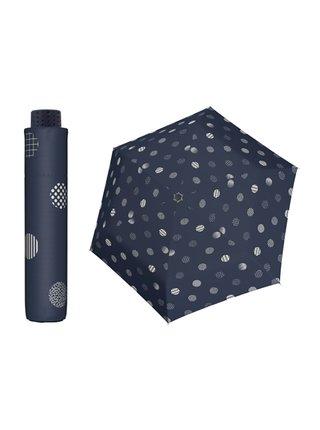 Doppler HAVANNA Timeless modrý puntíkovaný ultralehký skládací deštník - Modrá