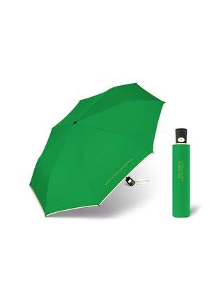 United Colors of Benetton Mini AC Green - vystřelovací zelený deštník s bílým lemem - Zelená