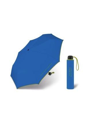 United Colors of Benetton Super Mini Egyptian Blue - modrý deštník se zeleným lemem - Modrá