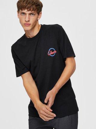 Černé tričko s potiskem Selected Homme