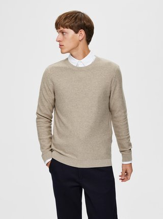Béžový basic sveter Selected Homme