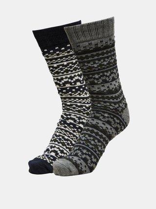 Sada dvou párů šedo-černých ponožek Selected Homme