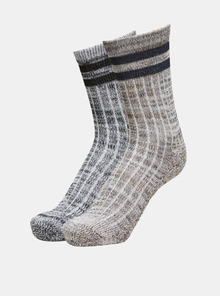 Sada dvou párů šedo-hnědých ponožek Selected Homme