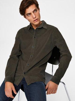 Khaki manšestrová košile Selected Homme