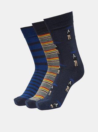 Sada třech párů modrých ponožek Selected Homme