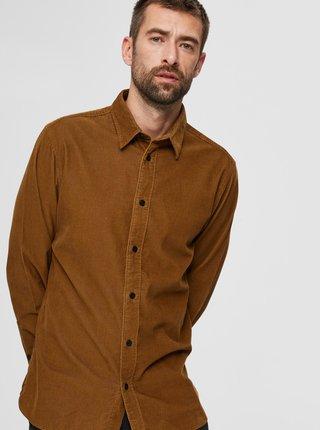 Hnědá manšestrová košile Selected Homme