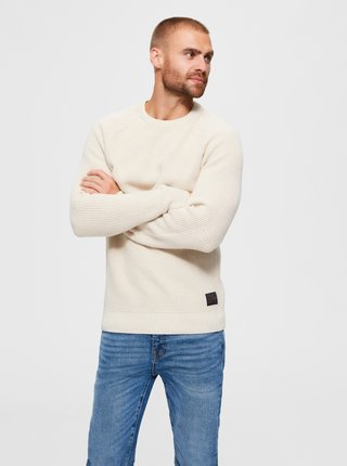 Krémový svetr Selected Homme