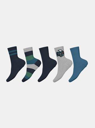 Sada pěti párů modrých klučičích ponožek name it