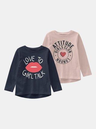 Sada dvou holčičích triček v modré a růžové barvě name it