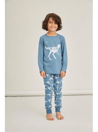 Modré klučičí vzorované pyžamo name it