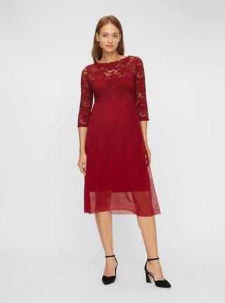 Vínové tehotenské šaty s krajkovým topom Mama.licious