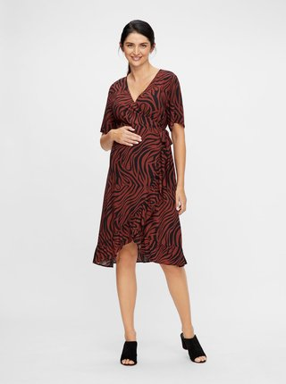 Hnedé zavinovacie vzorované tehotenské šaty Mama.licious