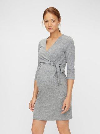 Šedé tehotenské/dojčiace šaty Mama.licious