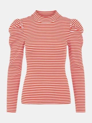 Červené pruhované tričko so stojáčikom Pieces