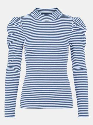 Modré pruhované tričko so stojáčikom Pieces