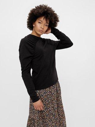 Čierne tričko s nariasenými rukávmi Pieces