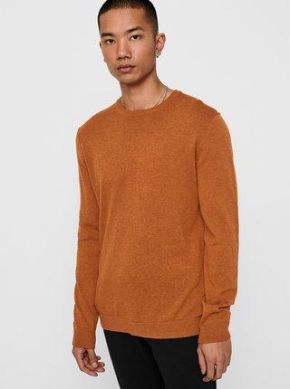 Oranžový basic sveter ONLY & SONS