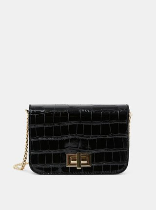 Čierna crossbody kabelka s hadím vzorom Pieces