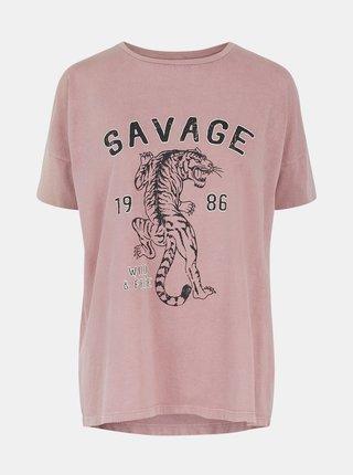 Ružové tričko s potlačou Pieces