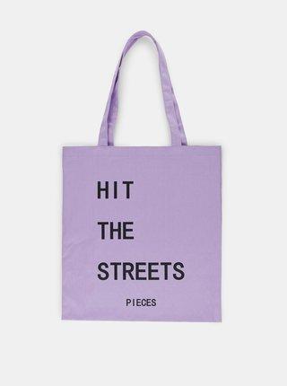 Fialová plátená taška s potlačou Pieces