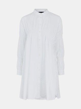 Biele voľné košeľové šaty Pieces