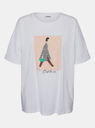 Bílé tričko s potiskem Noisy May Ida