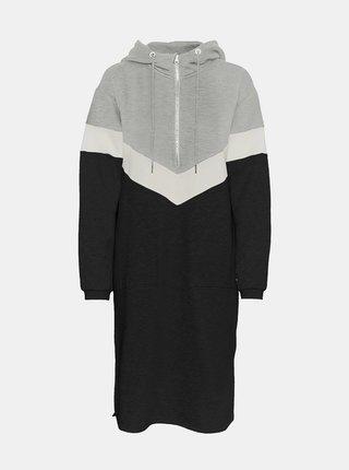 Čierno-šedé mikinové šaty Noisy May Melina