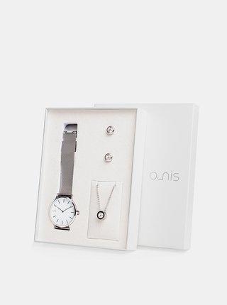 Sada dámských hodinek, náušnic a řetízku ve stříbrné barvě a-nis