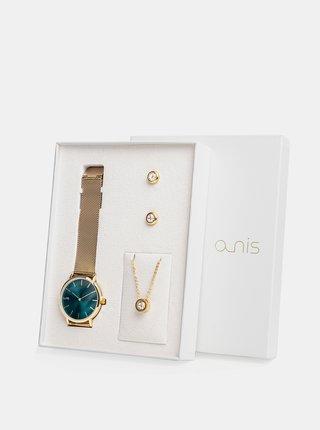 Sada dámských hodinek, náušnic a řetízku ve zlaté barvě a-nis