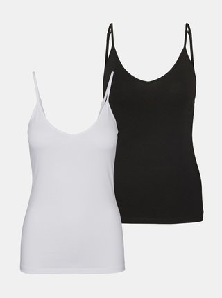 Sada dvou basic tílek v bílé a černé barvě VERO MODA