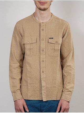 MAKIA FIELD KHAKI pánské košile s dlouhým rukávem - béžová