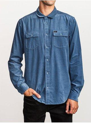 RVCA FREEMAN CORD CHINA BLUE pánské košile s dlouhým rukávem - modrá
