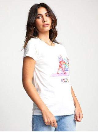 RVCA RAINBOW YOGA Vintage White dámské triko s krátkým rukávem - bílá