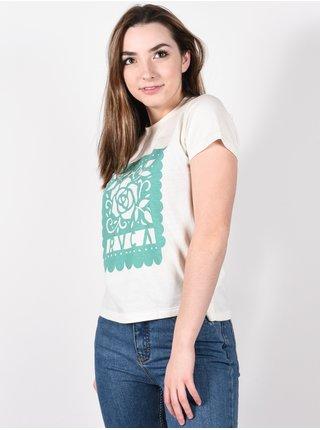 RVCA LA ROSA ANTIQUE WHITE dámské triko s krátkým rukávem - bílá