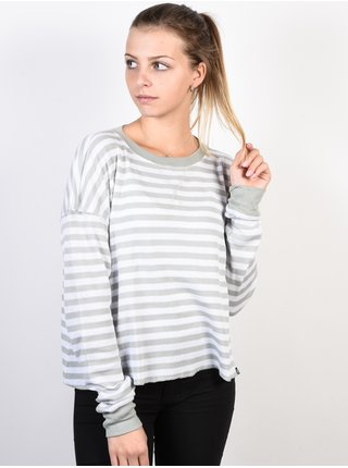 Fox Striped Out white dámské triko s dlouhým rukávem - šedá