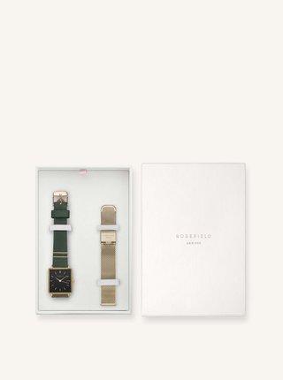 Sada dámských hodinek a náhradního řemínku v zelené a zlaté barvě Rosefield