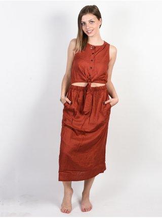 RVCA ARIZONA BURNT RED dlouhé letní šaty - červená