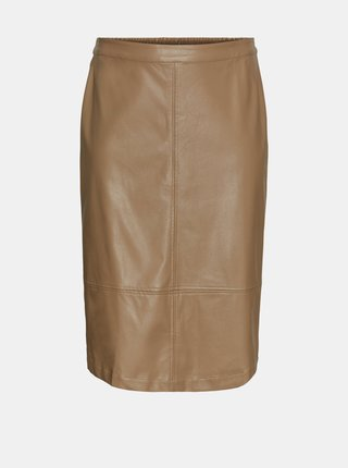 Hnědá koženková sukně VERO MODA CURVE