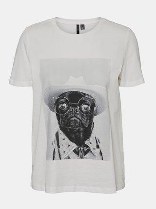 Bílé tričko s potiskem VERO MODA