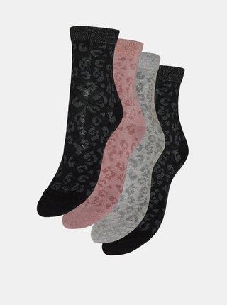 Sada čtyř párů vzorovaných ponožek v šedé a černé barvě VERO MODA