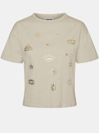 Béžové tričko s potiskem Noisy May Brandy