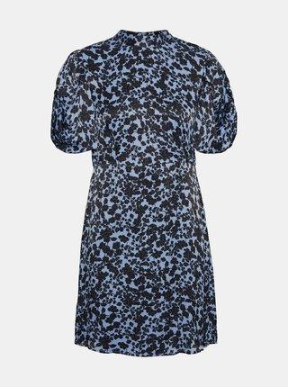 Modré květované šaty se stojáčkem VERO MODA