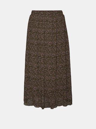 Hnědá vzorovaná midi sukně VERO MODA