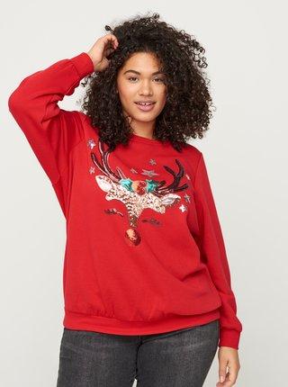 Červená mikina s vánočním motivem Zizzi