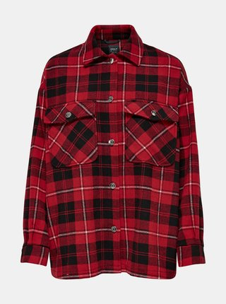 Červená kockovaná košeľa ONLY