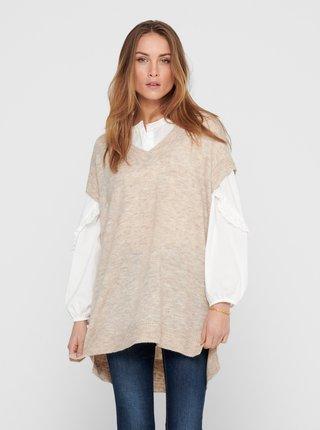 Béžová svetrová vesta ONLY