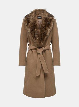 Hnědý kabát s umělým kožíškem ONLY