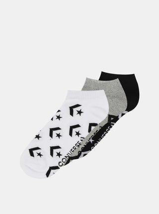 Sada tří párů dámských kotníkových ponožek v šedé a černé barvě Converse