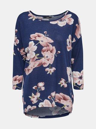 Modré květované volné tričko ONLY