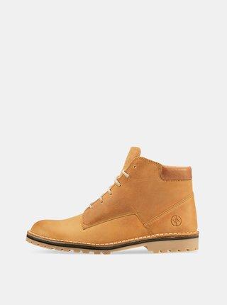 Hnedé kožené členkové topánky Vasky